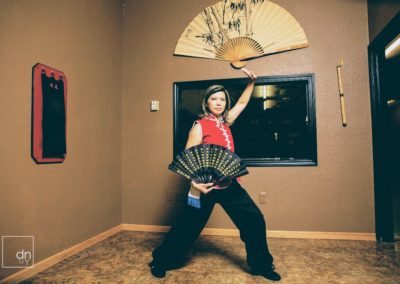 Wing Chun Student with Fan